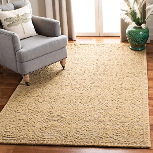 Safavieh Cambridge Collection CAM233A Handcrafted Moroccan Geometric Light Gold and Dark Gold Premium Wool Area Rug 4 x 6