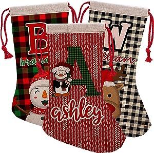 Personalized Christmas Name & Initial Stockings, Customizable Burlap Decoration w/ 6 Design - 16 inches - Custom Plaid Kids Stockings Gift - Penguin, Unicorn, Snowman, Reindeer, Santa
