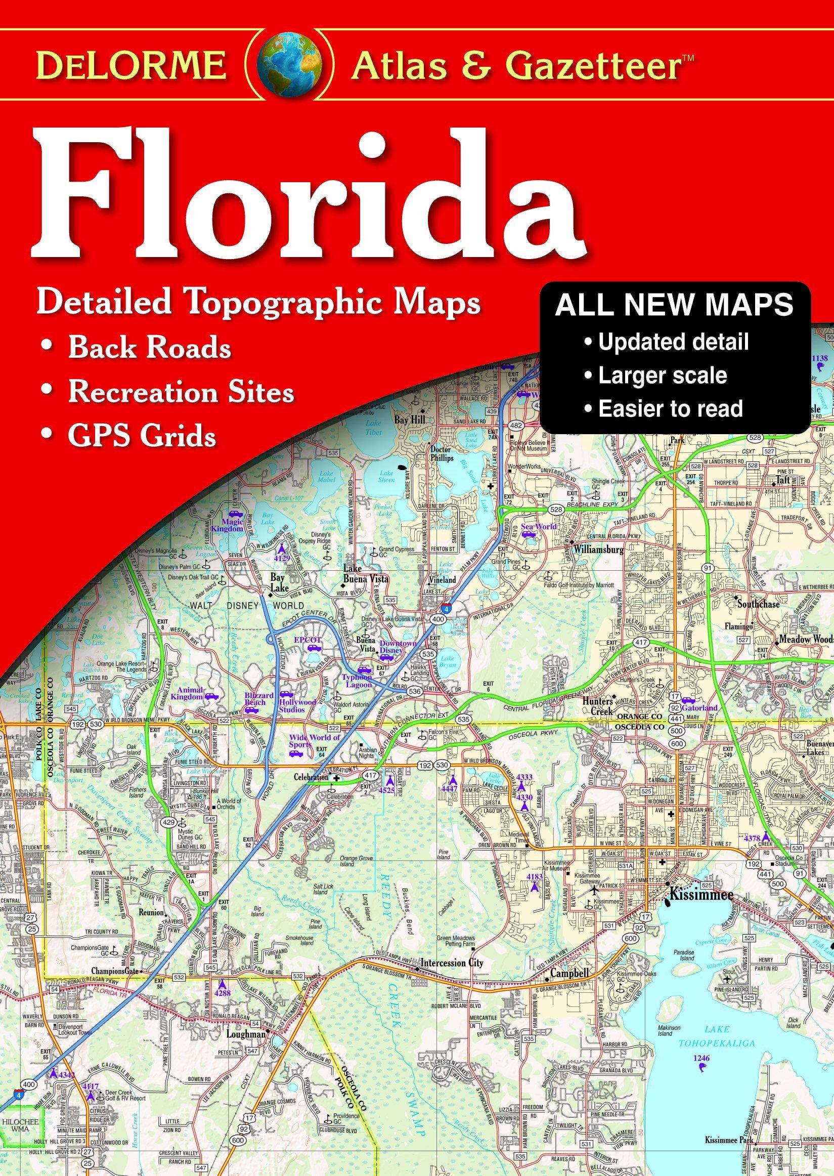 Map Of Florida Detailed.Florida Atlas Gazetteer Detailed Topographic Maps Back Roads