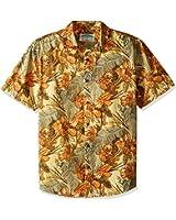 Margaritaville Men's Short Sleeve Floral Etching Print Shirt
