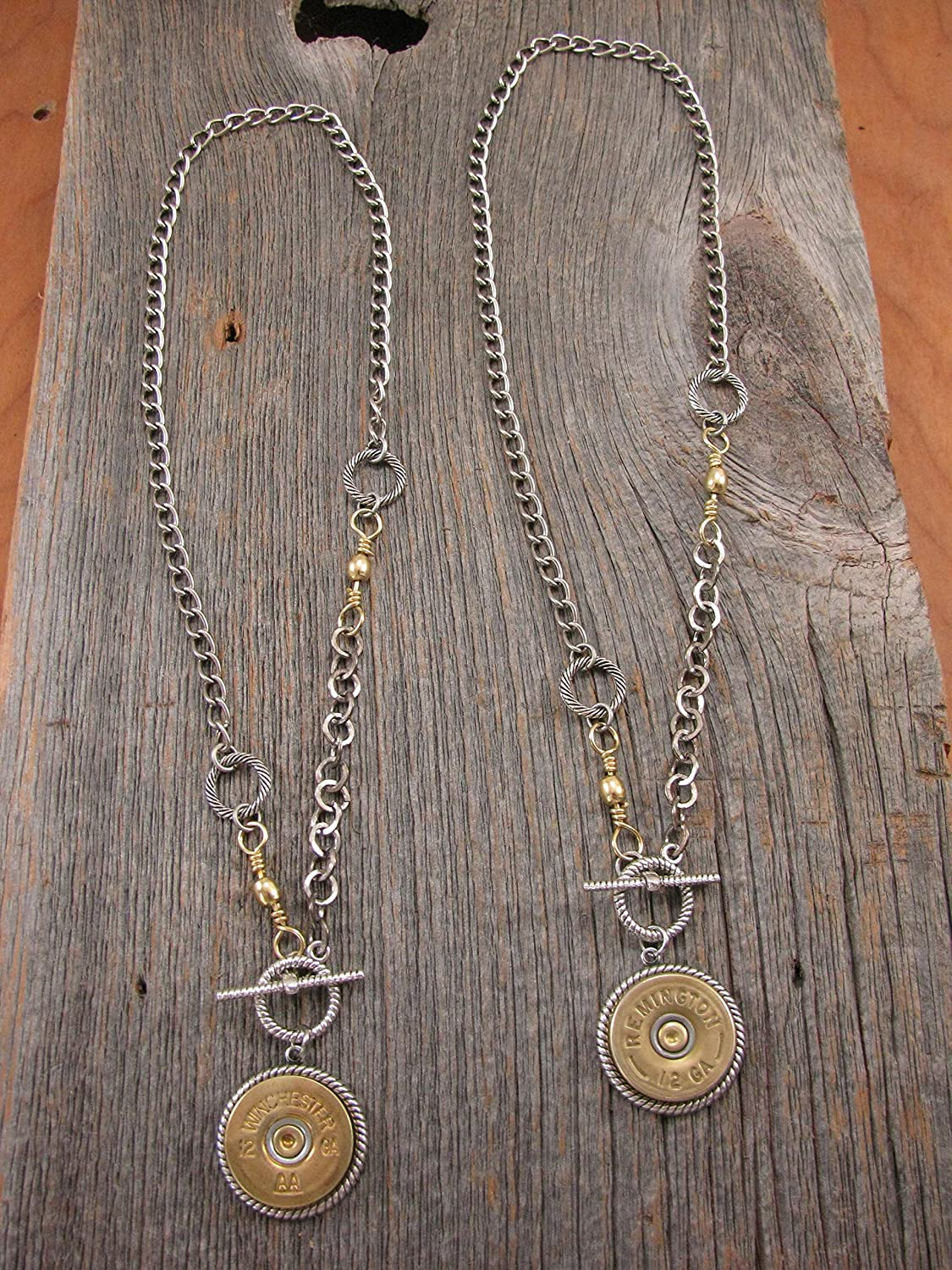 Bullet Jewelry - Ladies Shotgun Casing Toggle Medallion Necklace