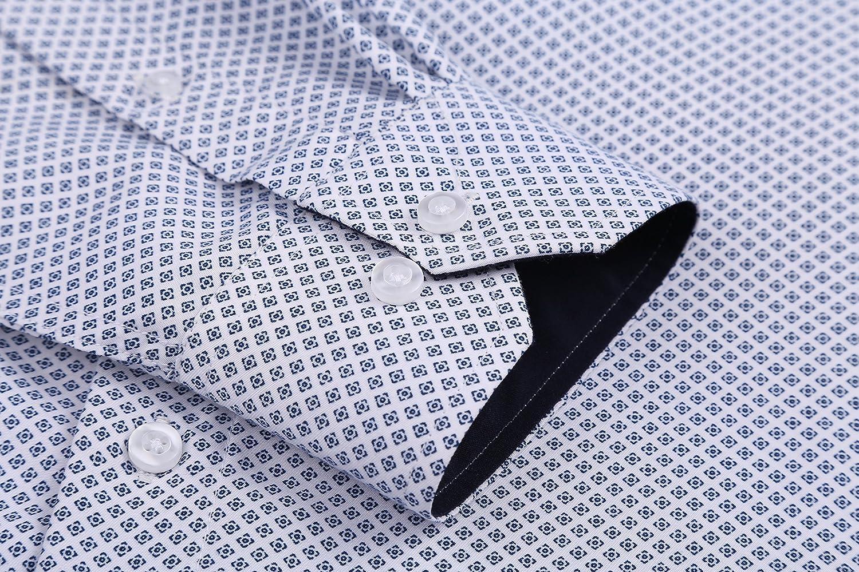 Alex Vando Mens Printed Dress Shirts Long Sleeve Regular Fit Casual Fashion Shirt