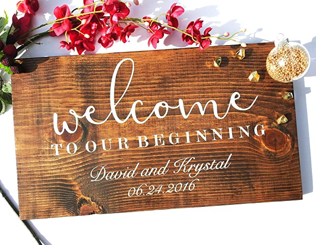 Amazon welcome to our wedding sign personalized wedding sign welcome to our wedding sign personalized wedding sign rustic wooden wedding sign gn junglespirit Images