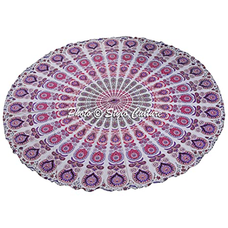 Amazon.com: Indian Mandala redondo Roundie rosa impresa ...
