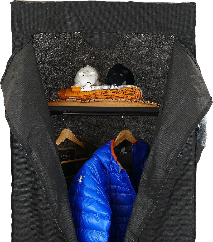 70 x 45 x 155 cm abnehmbar PrimeMatik Kleiderschrank aus Stoff DX001 Schwarz