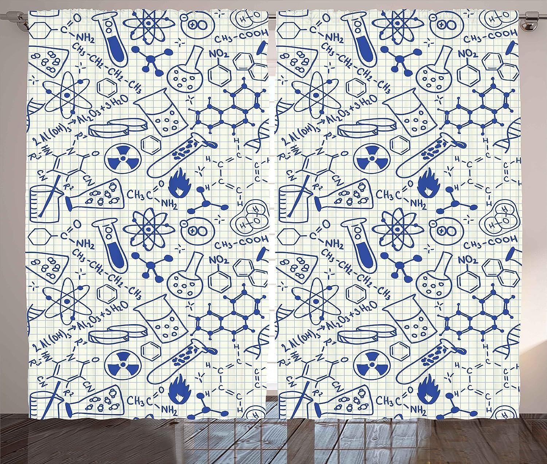 "Ambesonne Children Curtains, Science Chemistry Geometry Math Nerd Geek and Genius Themed Design Artwork, Living Room Bedroom Window Drapes 2 Panel Set, 108"" X 84"", Ivory Blue"