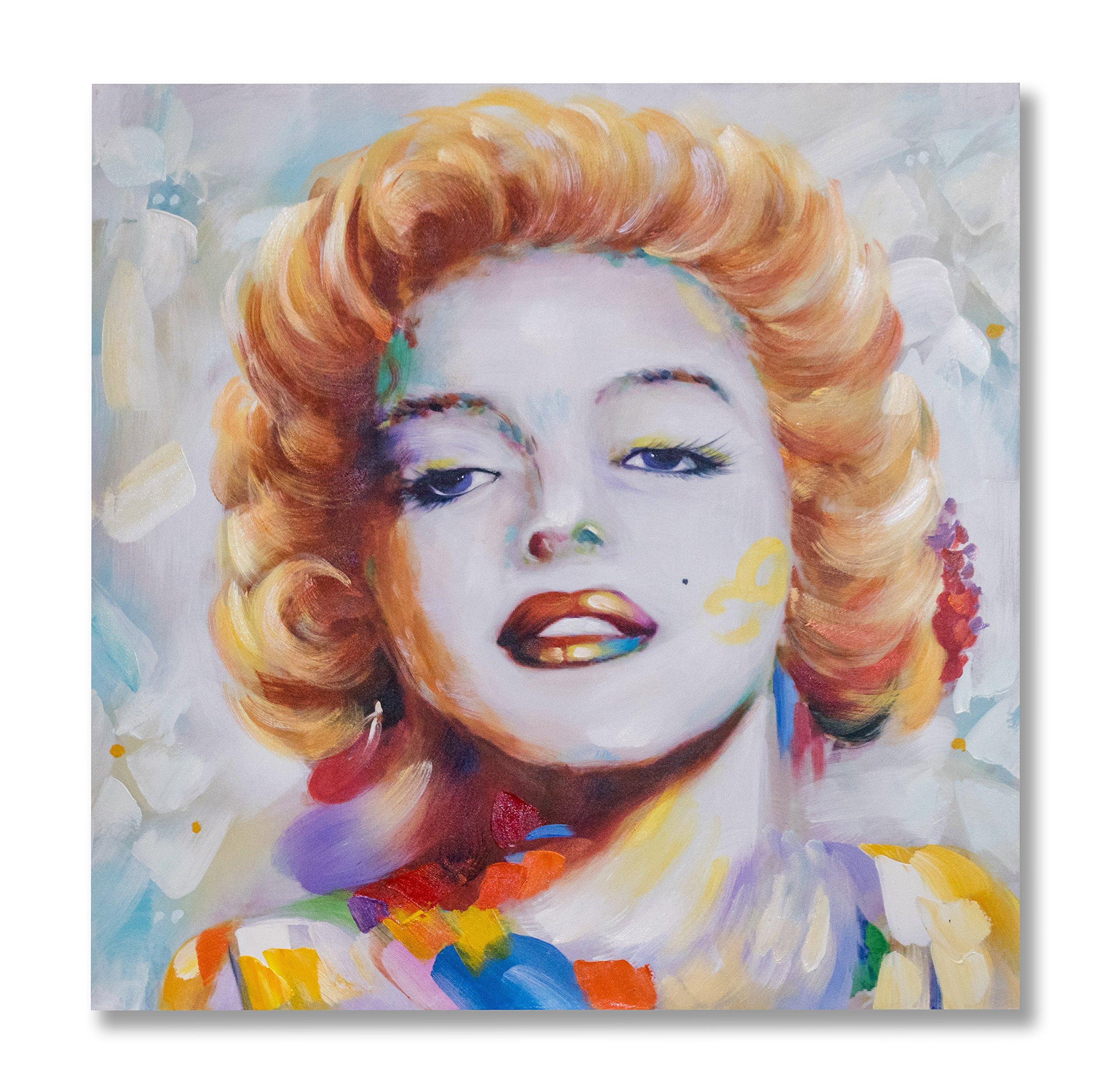 """In Liu Of   Modern Oil Painting on Canvas """"Hollywood Icon"""" (Marilyn Monroe) Professional, Fine Acrylic Finish   Layered Textures, Vibrant Colors   Contemporary Wall Art for Home or Office   40'' x 40''"""