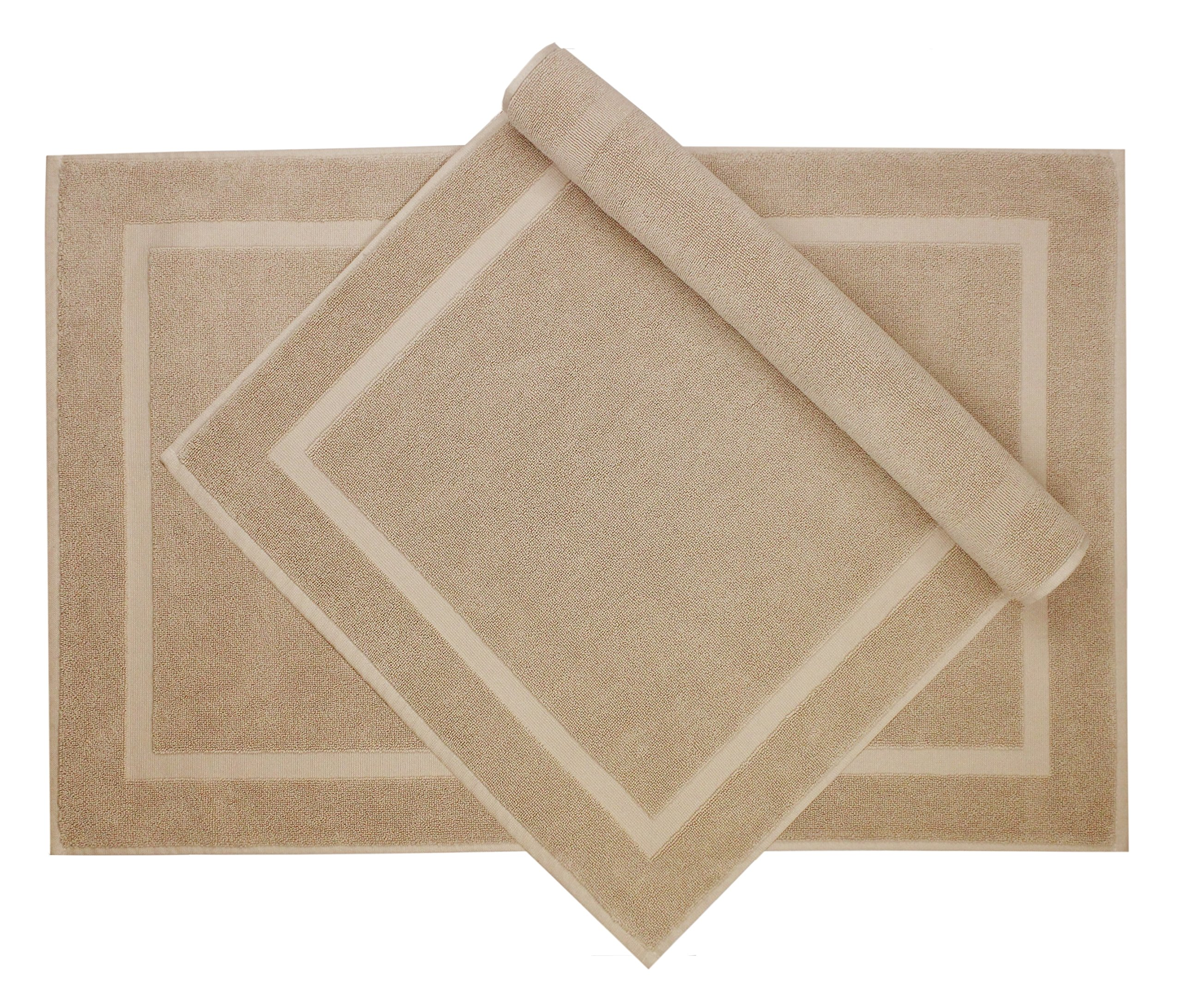 Cotton Craft - 2 Pack Bath Mat - Linen - 100% Ringspun Cotton Tub Mat 21x34 - Oversized 21x34 Heavy Weight 1000 Grams - 2 Ply Construction - High Absorbent - Soft Underfoot Easy Care Machine Wash