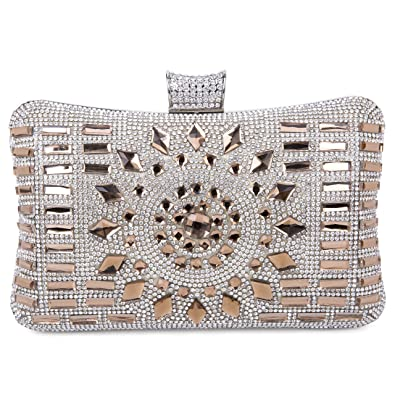 Tanpell Women s Rhinestone Evening Bag Crystal Clutches Bags Wedding Purse  with Detachable Chain Coffee 9f7f3aec7565
