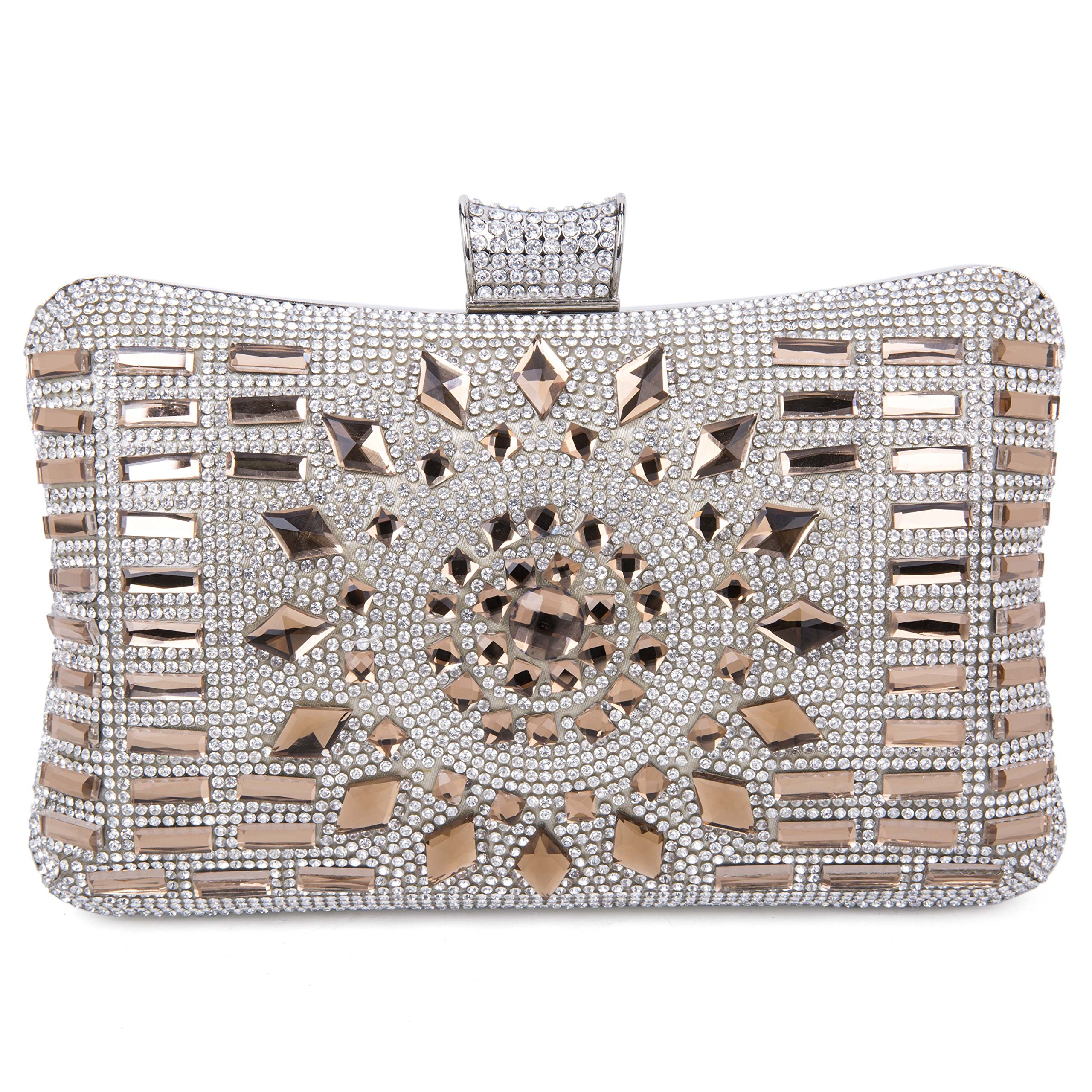 Tanpell Women's Geometric Diamante Evening Banquet Party Clutch Bags Coffee