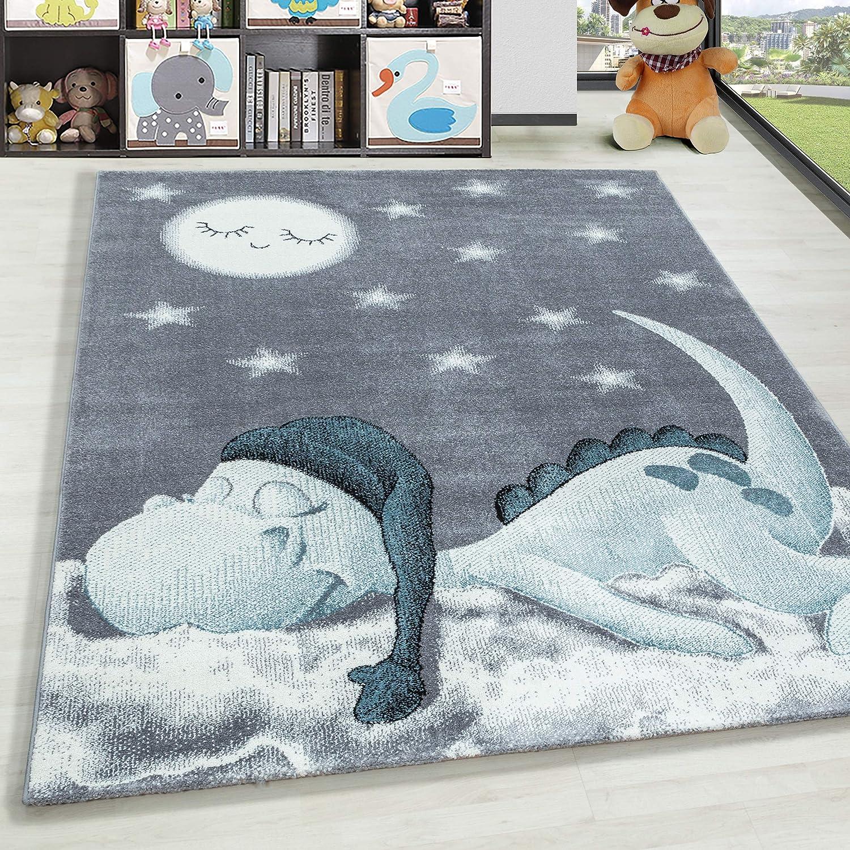 HomebyHome Alfombra Infantil Diseño de Estrella de Nube de Dinosaurio Habitación Infantil para bebé Gris Azul rectángulo Redonda, tamaño:120x170 cm, Color:Azul