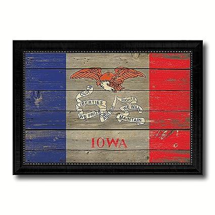 Amazon Com Iowa State Flag Vintage Canvas Print With Black Picture