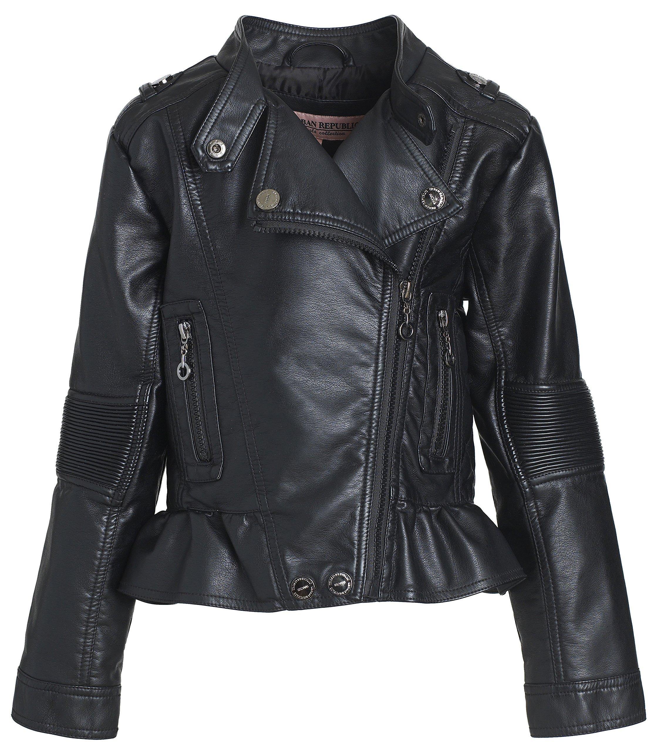 Urban Republic Toddler & Big Girls Faux Leather Motorcycle Moto Biker Jacket - Black (Size 6X)