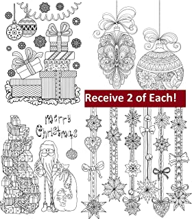 adult coloring greeting cards with envelopes christmas 8 card set with 4 designs