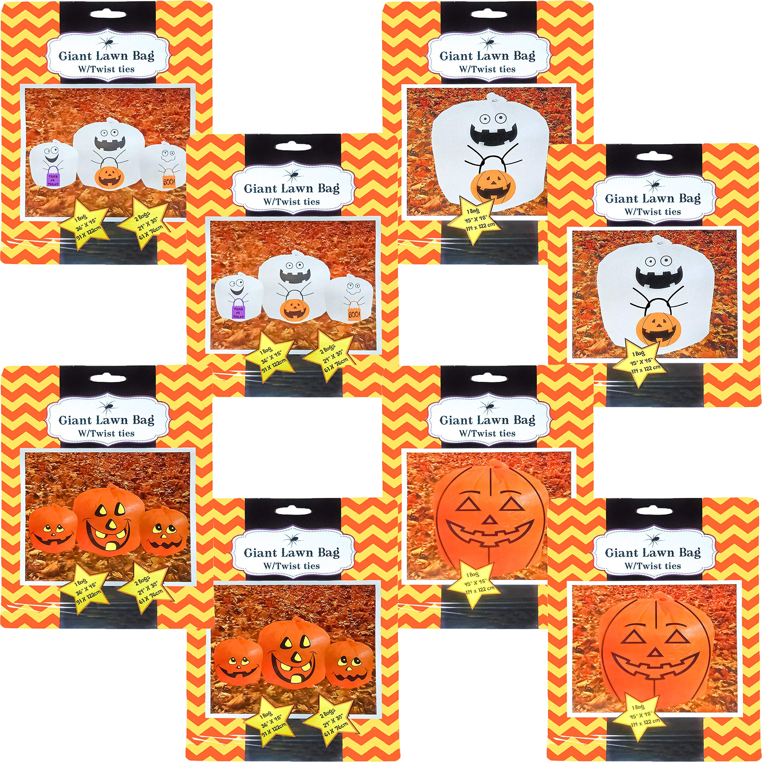 Set of 4 Giant Halloween Pumpkin Lawn Bags with Twist Ties in 3 Different Sizes (Set of 8, Ghosts & Pumpkins) by Black Duck Brand