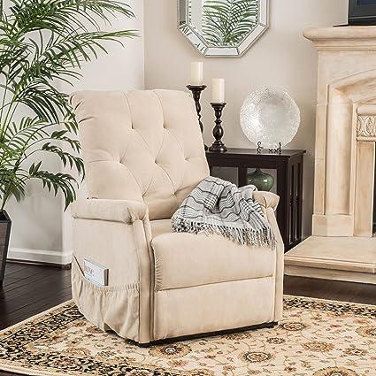 Warrington Living Room Furniture ~ Fabric Lift Up Recliner Chair (Wheat)
