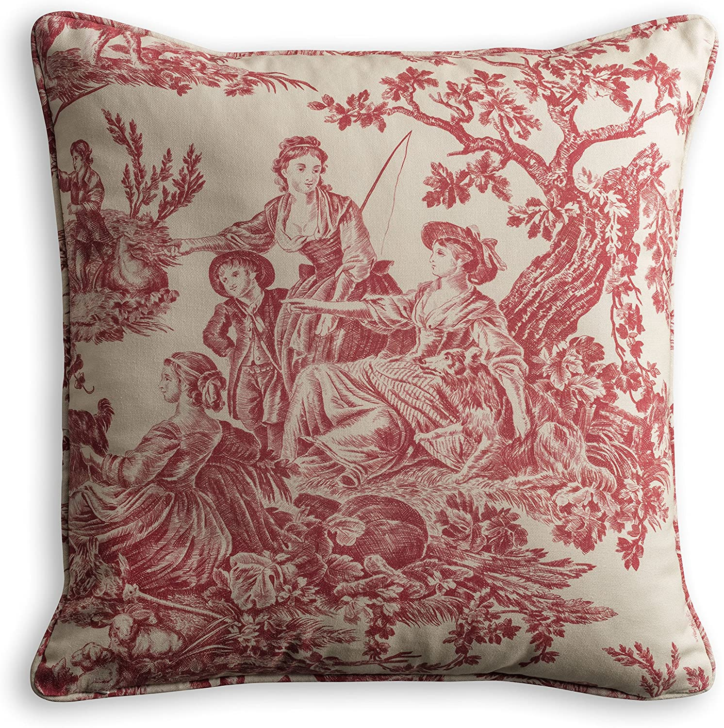 Maison d' Hermine The Miller 100% Cotton Toile Red Decorative Pillow Cover 18 Inch by 18 Inch
