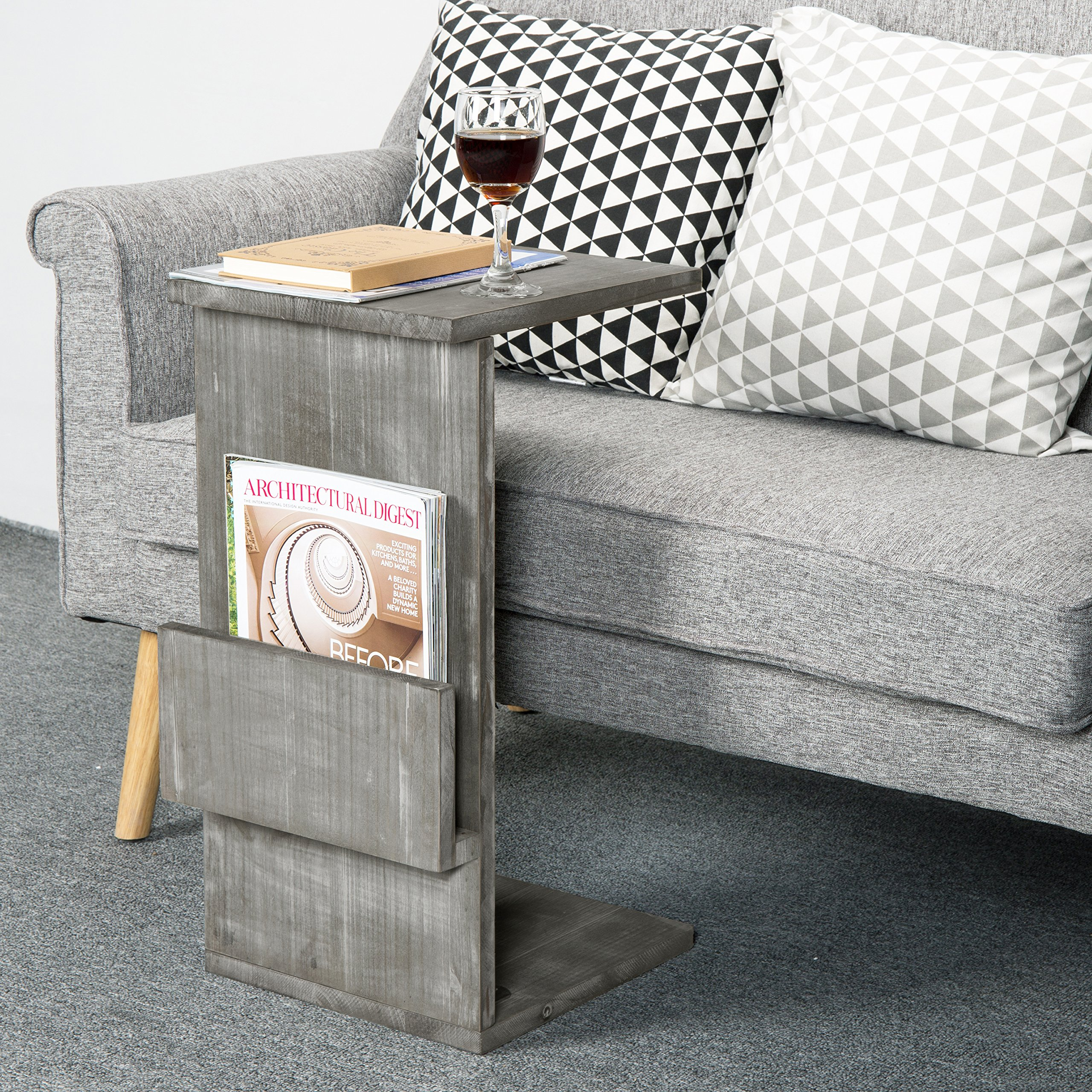 Gray Whitewashed Wood Sofa Side Table with Magazine Holder Rack, Under-the-Couch Sliding Tray by MyGift (Image #2)
