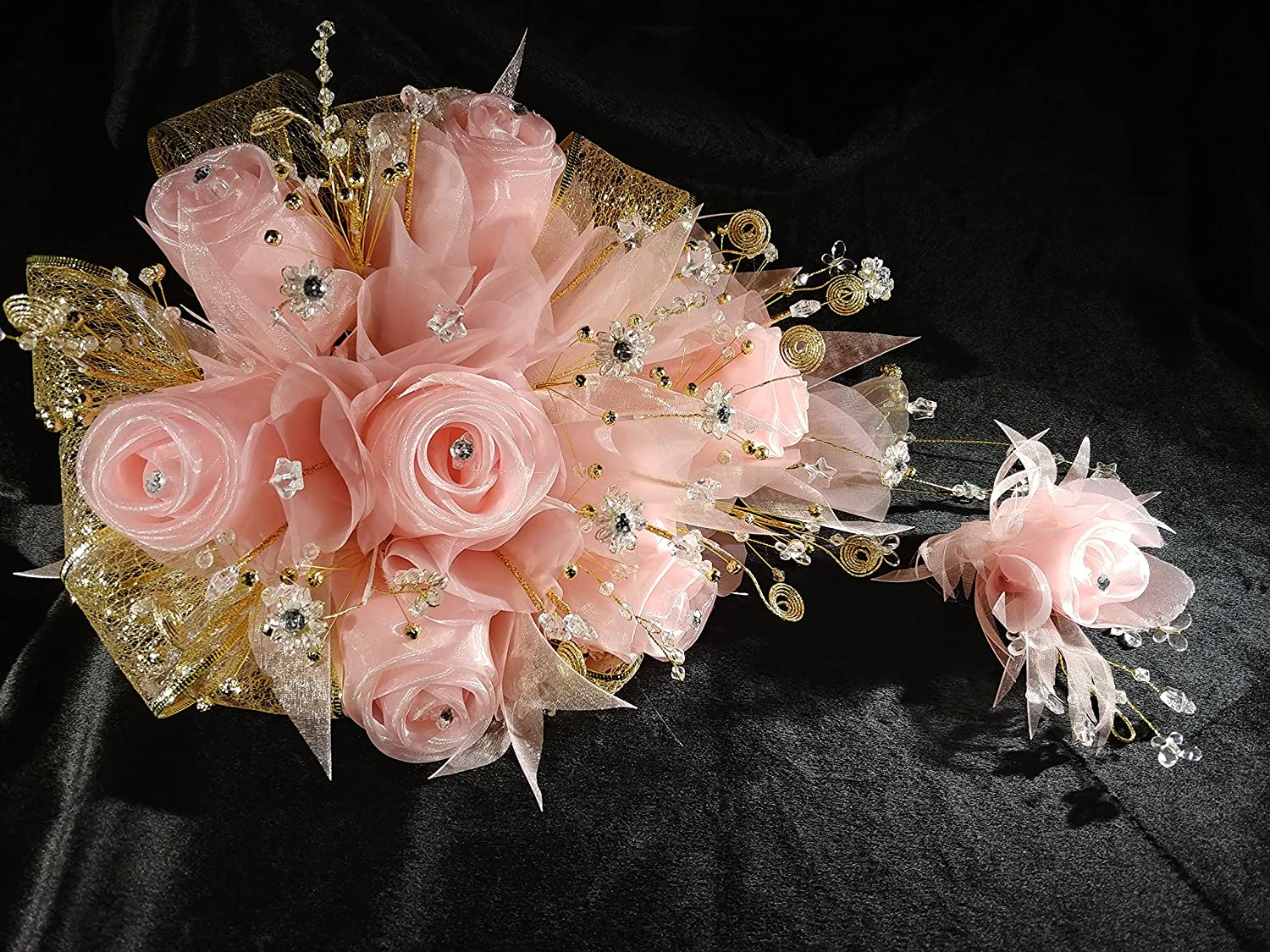 Amazon 15th Quinceaera L Blush Color Gold Flower Bouquet Set