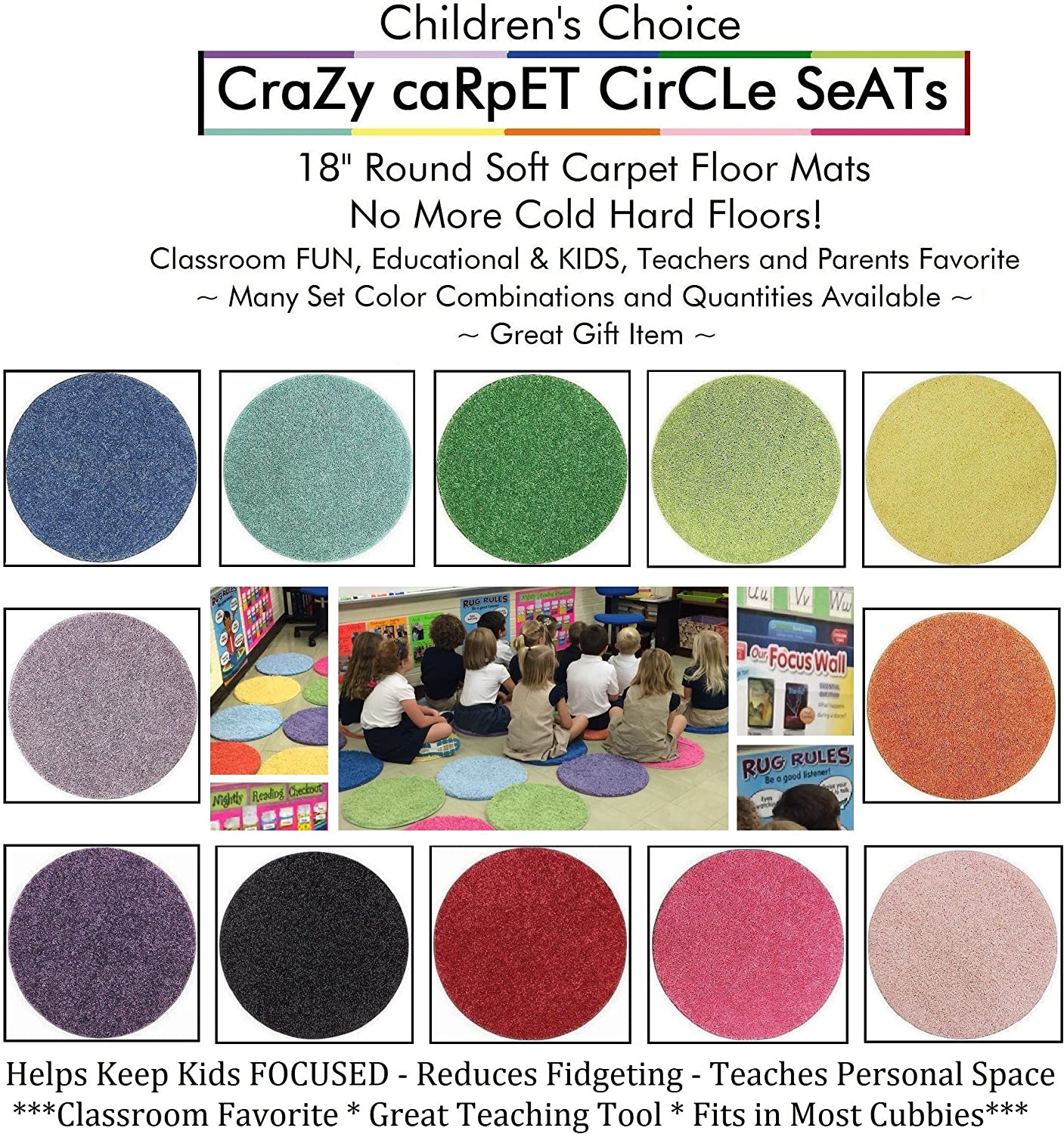 10 Sets von 12 Pc - Rainbow Kids Crazy Carpet Circle Seats 18 Round Soft Warm Floor Mat - Cushions | Classroom, Story Time, Group Activity, Time-aus Spot Marker und Fun. Zuhause Bedroom & spielen Areas &Hellip;