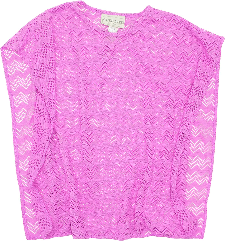 Cherokee Girls' Fashion Crochet Mesh Tank Swim Cover up Pink and Yellow
