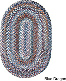 product image for Rhody Rug Augusta Space-Dye Wool Braided Rug Blue Dragon 2' x 3' Oval Wool 2' x 3' Accent, Indoor Beige Oval