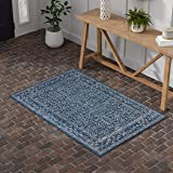 Amazon Brand – Stone & Beam Modern Rich Detailed Rug, 4' x 6', Dark Blue