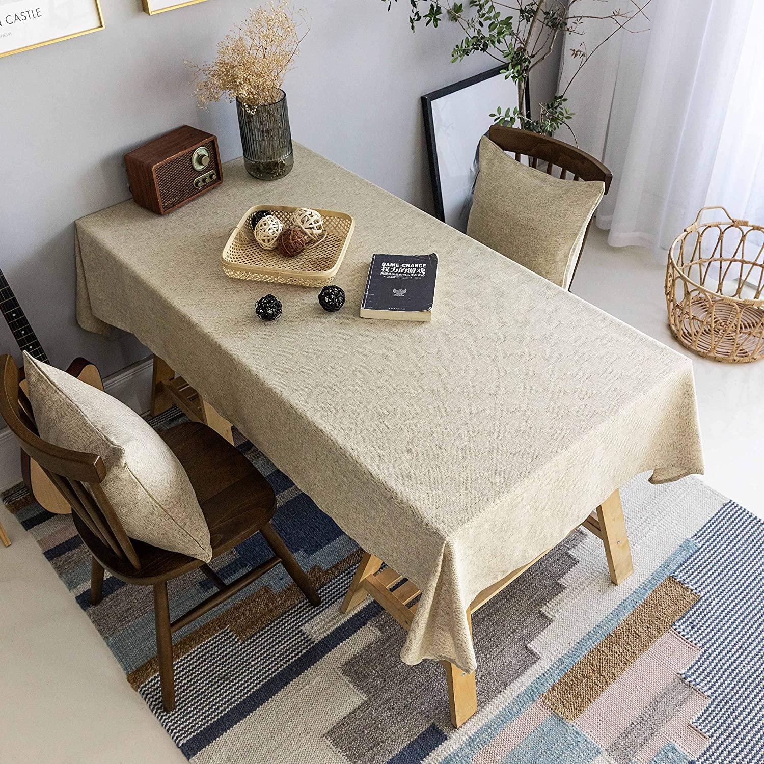 Home Brilliant Tablecloth Solid Soft Linen Farmhouse Checker Table Covers for Party Kitchen Indoor Outdoor Table Clothes for Dining Table, 52x86 inch, Natural