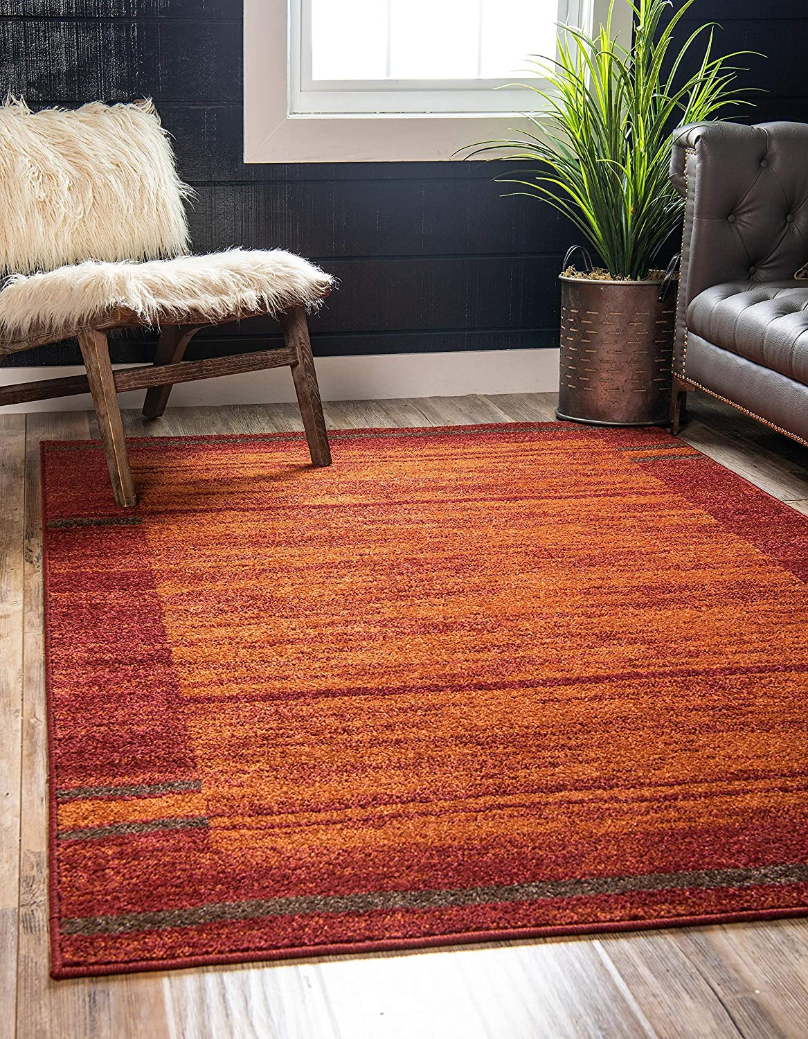 Amazon Com Unique Loom Autumn Collection Border Casual Rustic Warm Toned Terracotta Area Rug 9 0 X 12 0 Furniture Decor