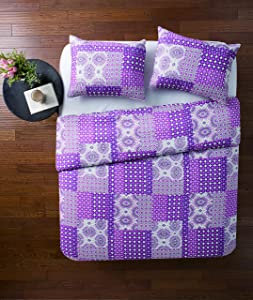 VCNY Home Nadia 3 Piece Patchwork Quilt Set, King, Purple