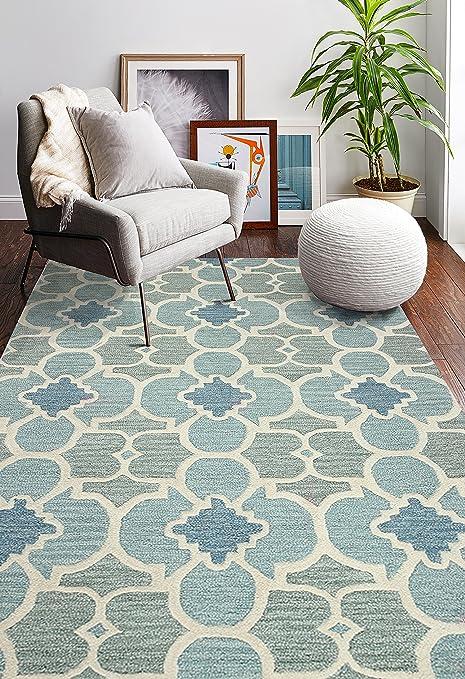 Amazon Com Bashian Rajapur Collection Cal927 Hand Tufted 100 Wool Area Rug 7x9 Aqua Furniture Decor
