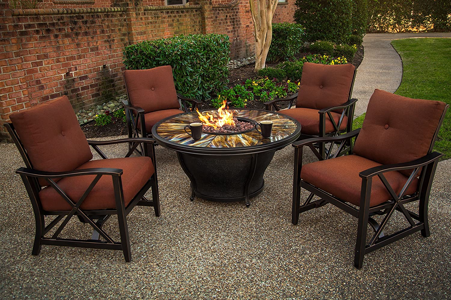 Amazon.com : Oakland Living Moonlight Round Gas Firepit Table With Burner,  Antique Bronze : Garden U0026 Outdoor