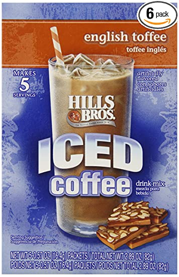 Hills Bros Iced Coffee, English Toffee, 2.89 Ounce, 5 Count (Pack of