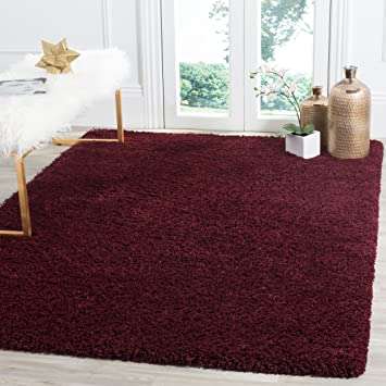 Safavieh Laguna Shag Collection Sgl303r Solid Non Shedding Living Room Bedroom Dining Room Entryway Plush 2 Inch Thick Area Rug 4 X 6 Maroon Furniture Decor