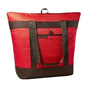 Rachael Ray Jumbo ChillOut Thermal Tote, XL Insulated Bag for Grocery Shopping /Entertaining, Transport Hot and Cold Food, Red