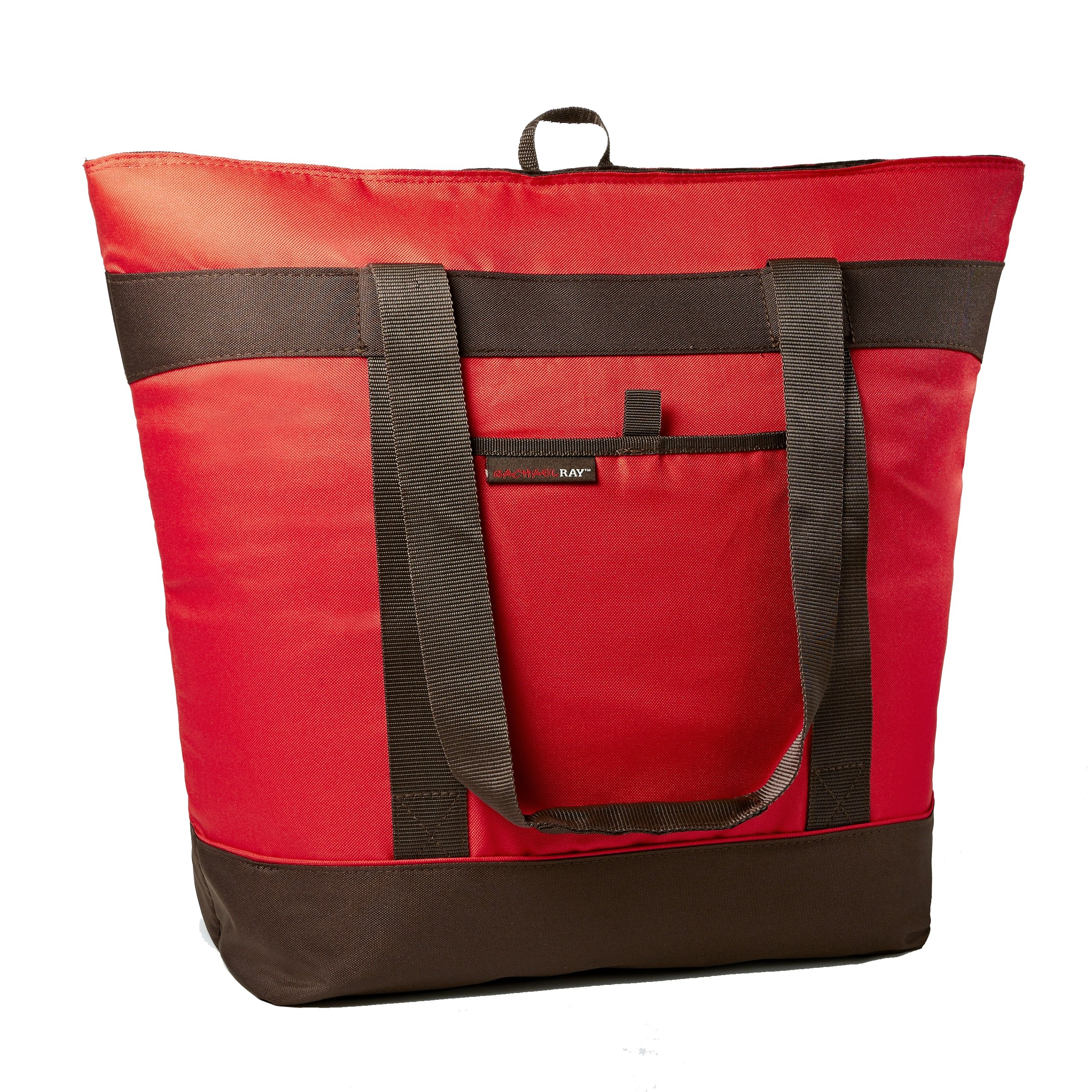 Rachael Ray Jumbo ChillOut Thermal Tote, XL Insulated Bag for Grocery Shopping/Entertaining, Transport Hot and Cold Food, Red