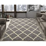 """Amazon Price History for:Ottomanson Ultimate Shaggy Collection Moroccan Trellis Design Shag Rug Contemporary Bedroom and  Living room Soft Shag Rugs, Grey, 5'3"""" L x 7'0"""" W"""