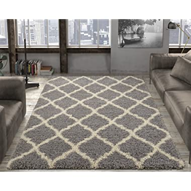 Ottomanson Ultimate Shaggy Collection Moroccan Trellis Design Shag Rug Contemporary Bedroom Soft Shaggy Kids Rugs, Grey, 39  L x 55  W