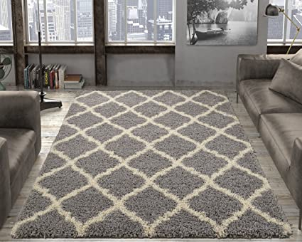 Attrayant Ottomanson Ultimate Shaggy Collection Moroccan Trellis Design Shag Rug  Contemporary Bedroom Soft Shaggy Kids Rugs,