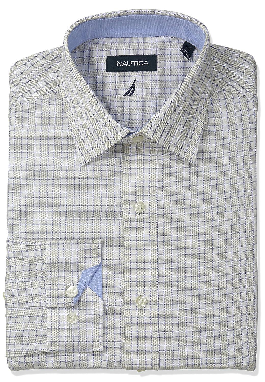 Nautica Mens Check Spread Collar Dress Shirt