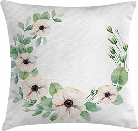 Amazon Com Ambesonne Anemone Flower Throw Pillow Cushion Cover Round Composition With Flourishing Fresh Bedding Plants And Stems Decorative Square Accent Pillow Case 26 X 26 Green Peach Black Home Kitchen