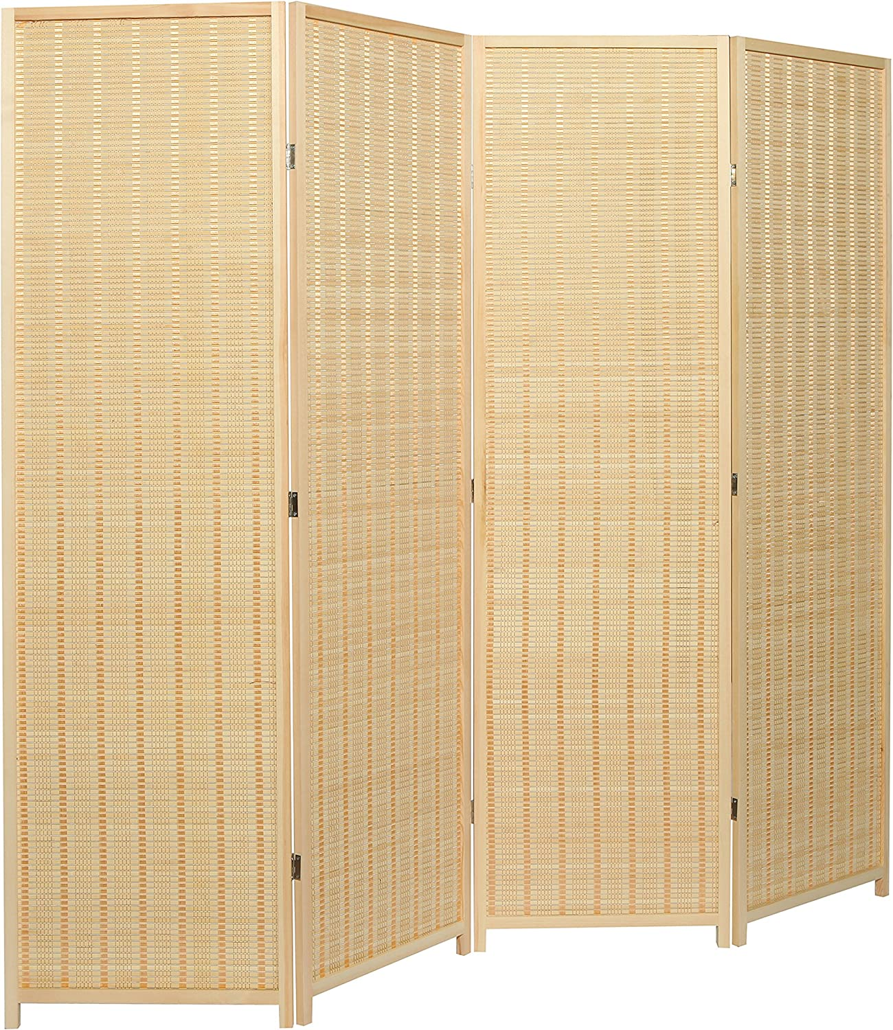 Amazon Com Mygift Decorative Freestanding Beige Woven Bamboo 4 Panel Hinged Privacy Screen Portable Folding Room Divider Furniture Decor