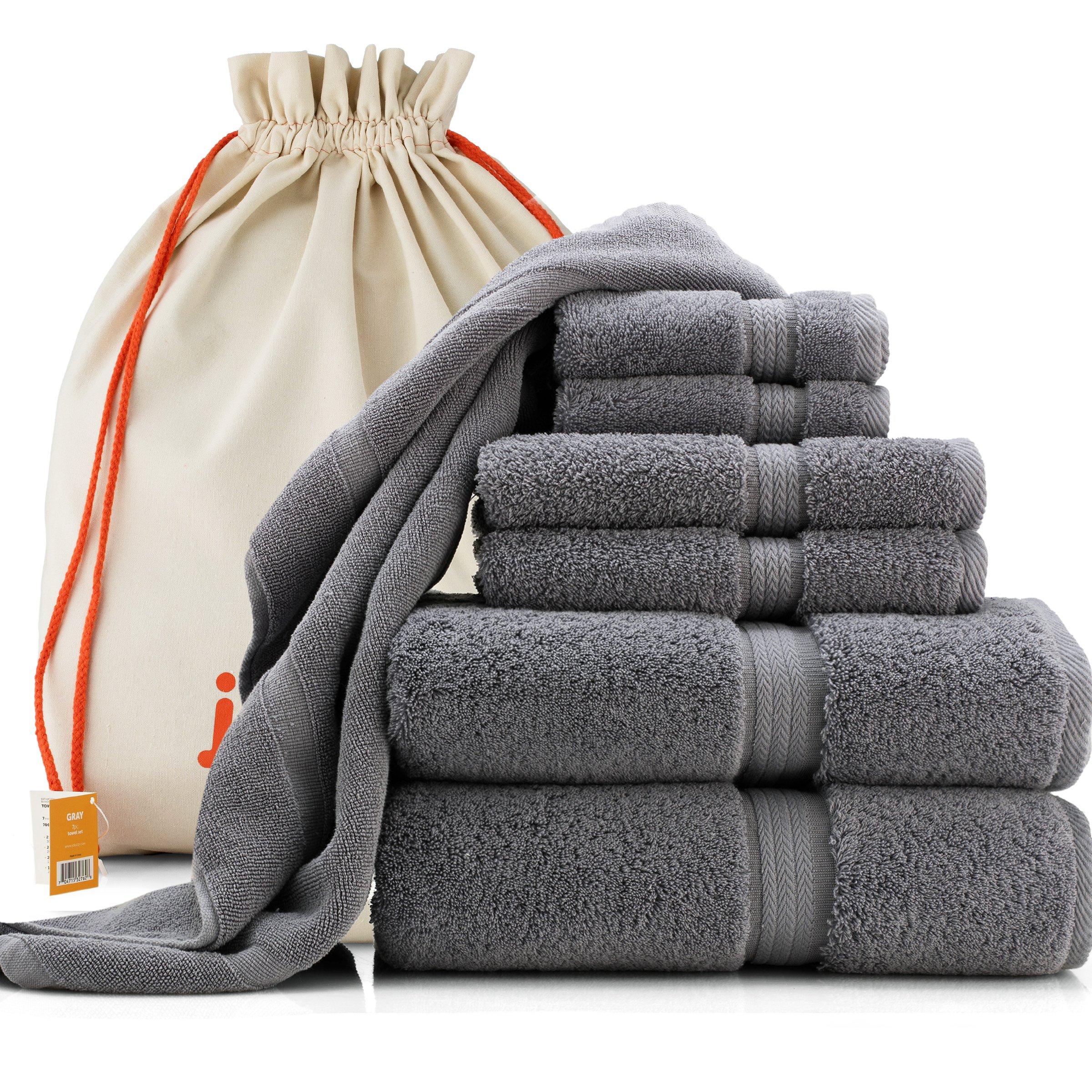 joluzzy Exlusive 7-Piece Towel Set, Steel-Blue/Gray - 100% Long-staple Cotton - High Density Absorbent 700 GSM - Soft & Plush - Hotel Quality - 2 Bath Towels, 2 Hand Towels, 2 Face Towels, 1 Floor Mat