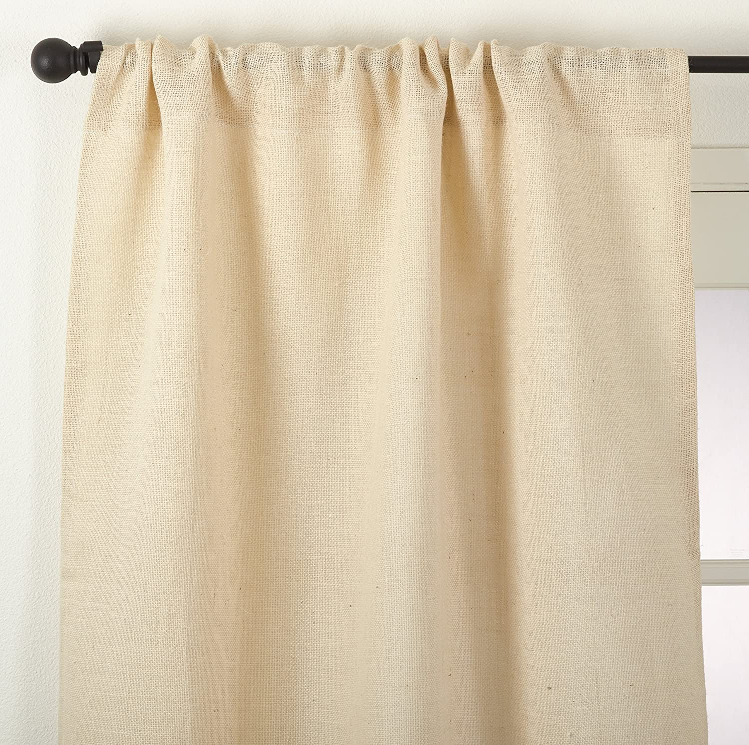 Natural 42 x 84 SARO LIFESTYLE Rustic Farmhouse Style Burlap Jute Lined Curtain Panel//0811.N4284 42 x 84