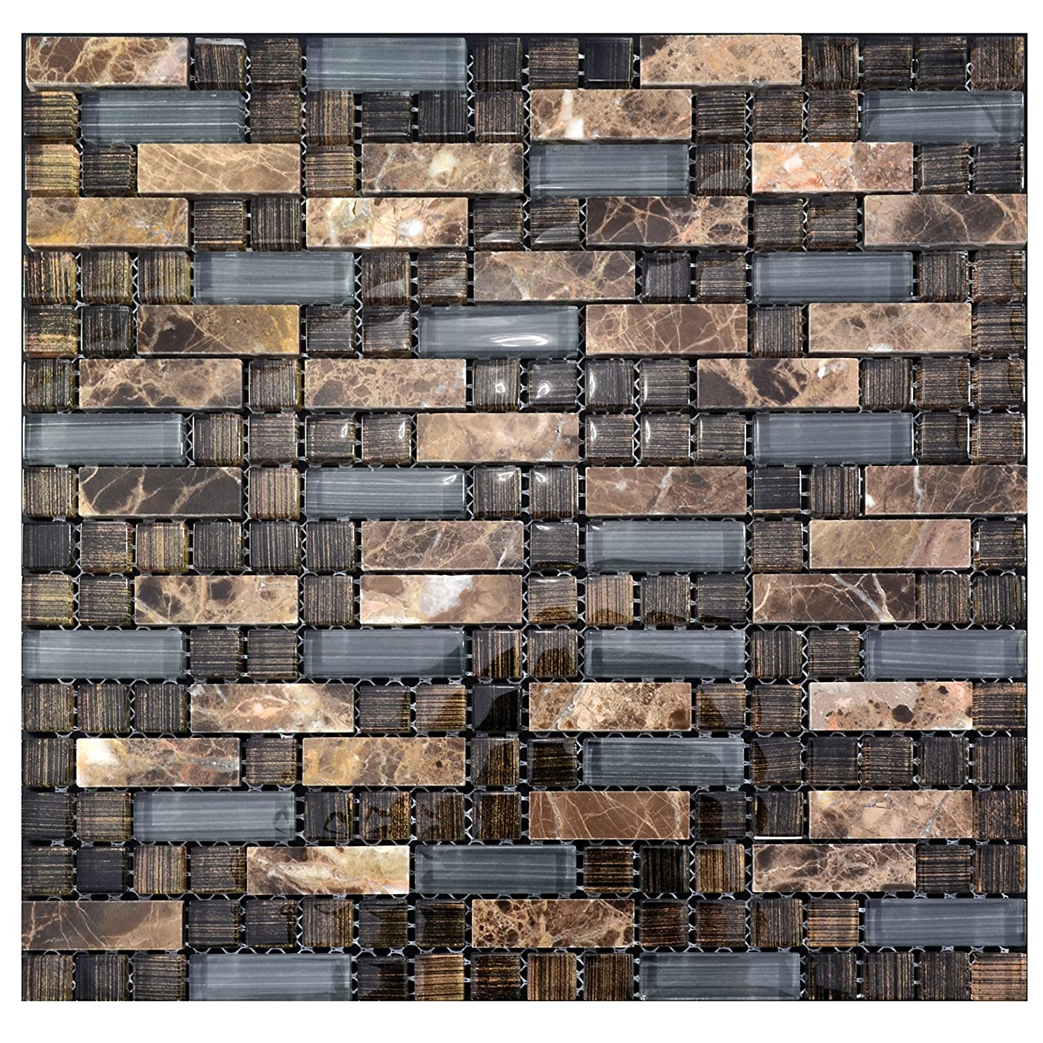Brown and Grey Stone Glass Tile Kitchen Backsplash Mosaic Wall ...