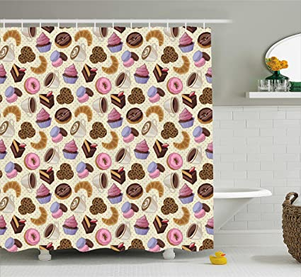 Ambesonne Coffee Shower Curtain Shop Themed Image With Cups Sweet Cookies Cake Chocolate Artwork