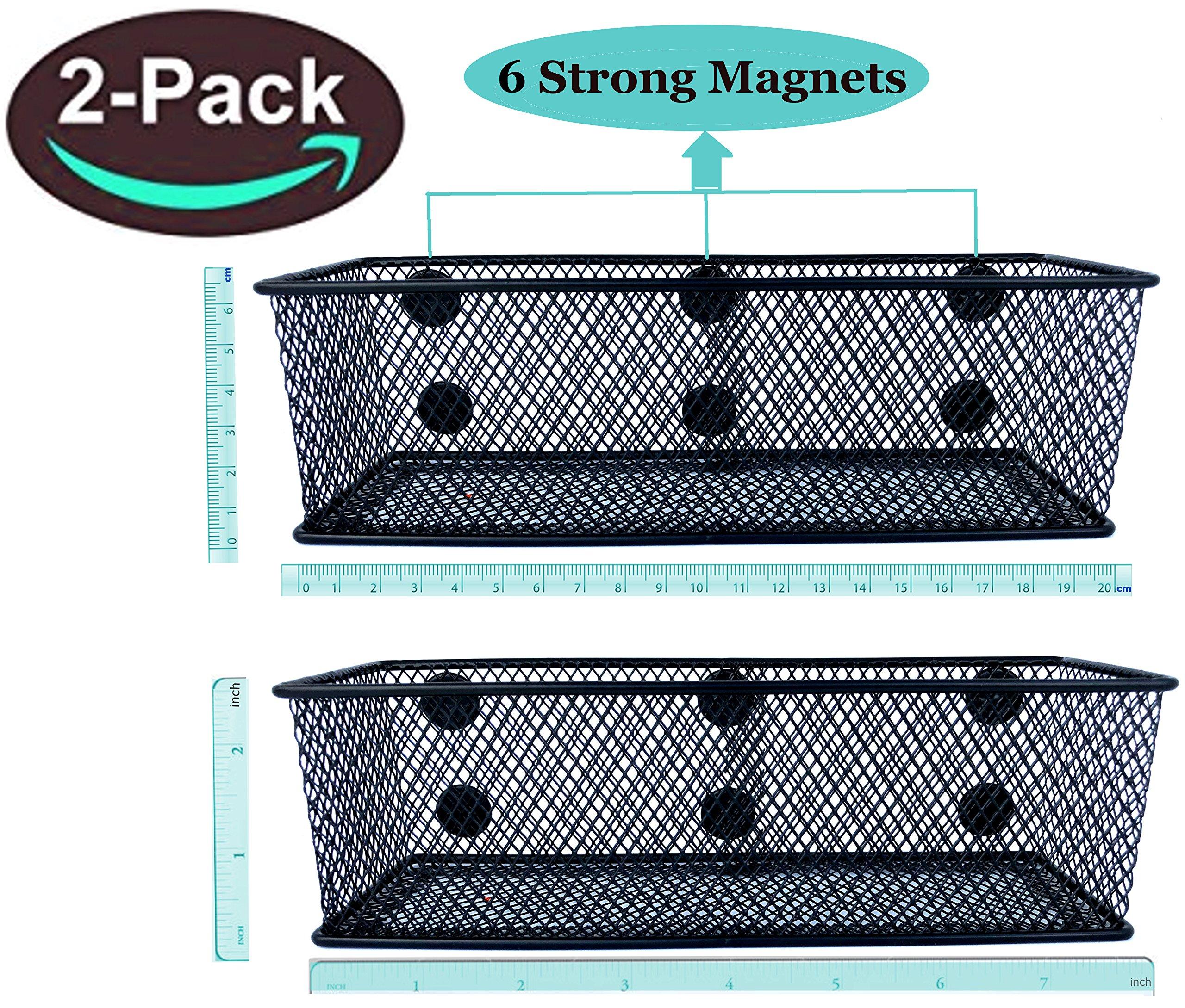 Premium Magnetic Locker Organizer Magnetic Marker Holder Locker Pencil Holder Locker Storage Basket Magnetic Organizer for Fridge and Whiteboard-7.8'' Wide-6 Strong Magnets-Set of 2-Black