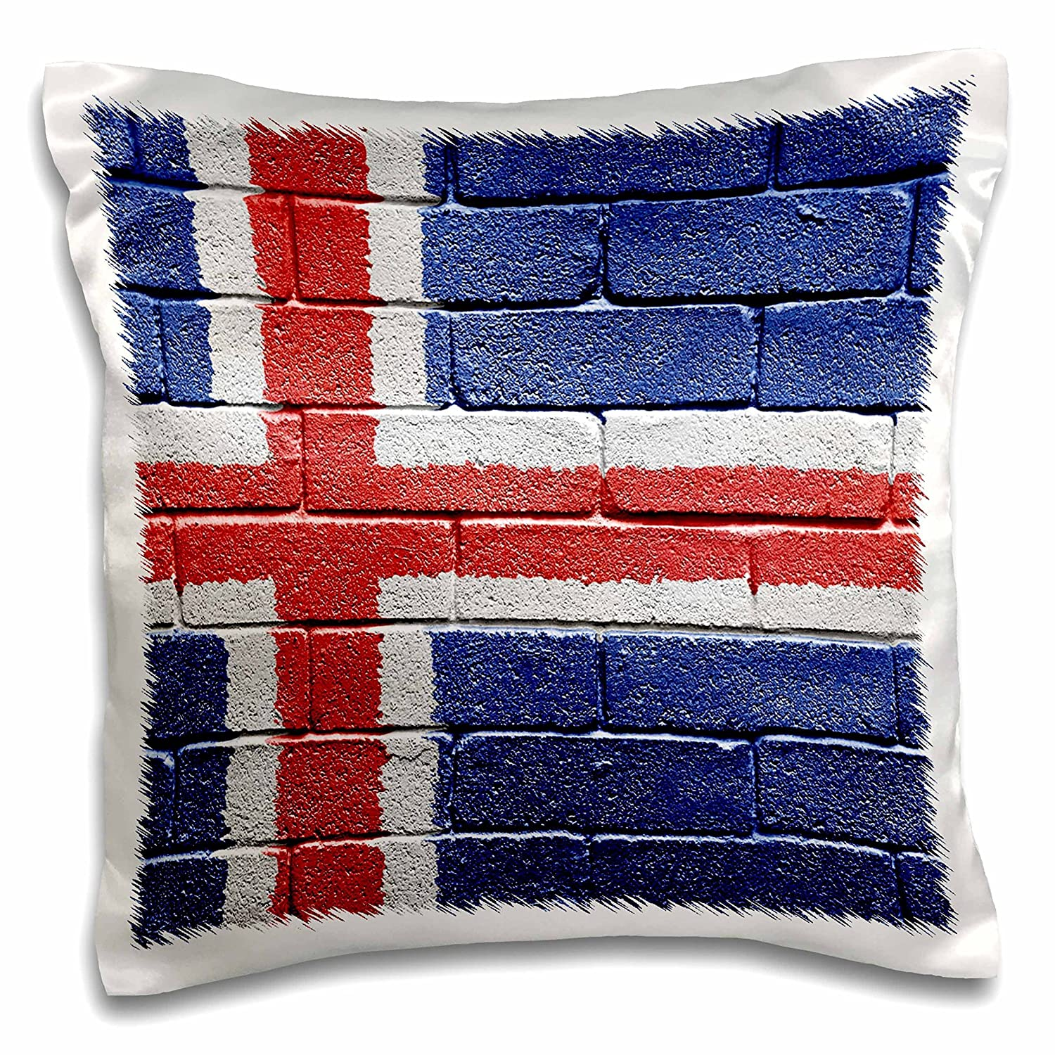 3D Rose National Flag Painted onto A Brick Wall Icelandic Design Pillowcase 16' x 16'