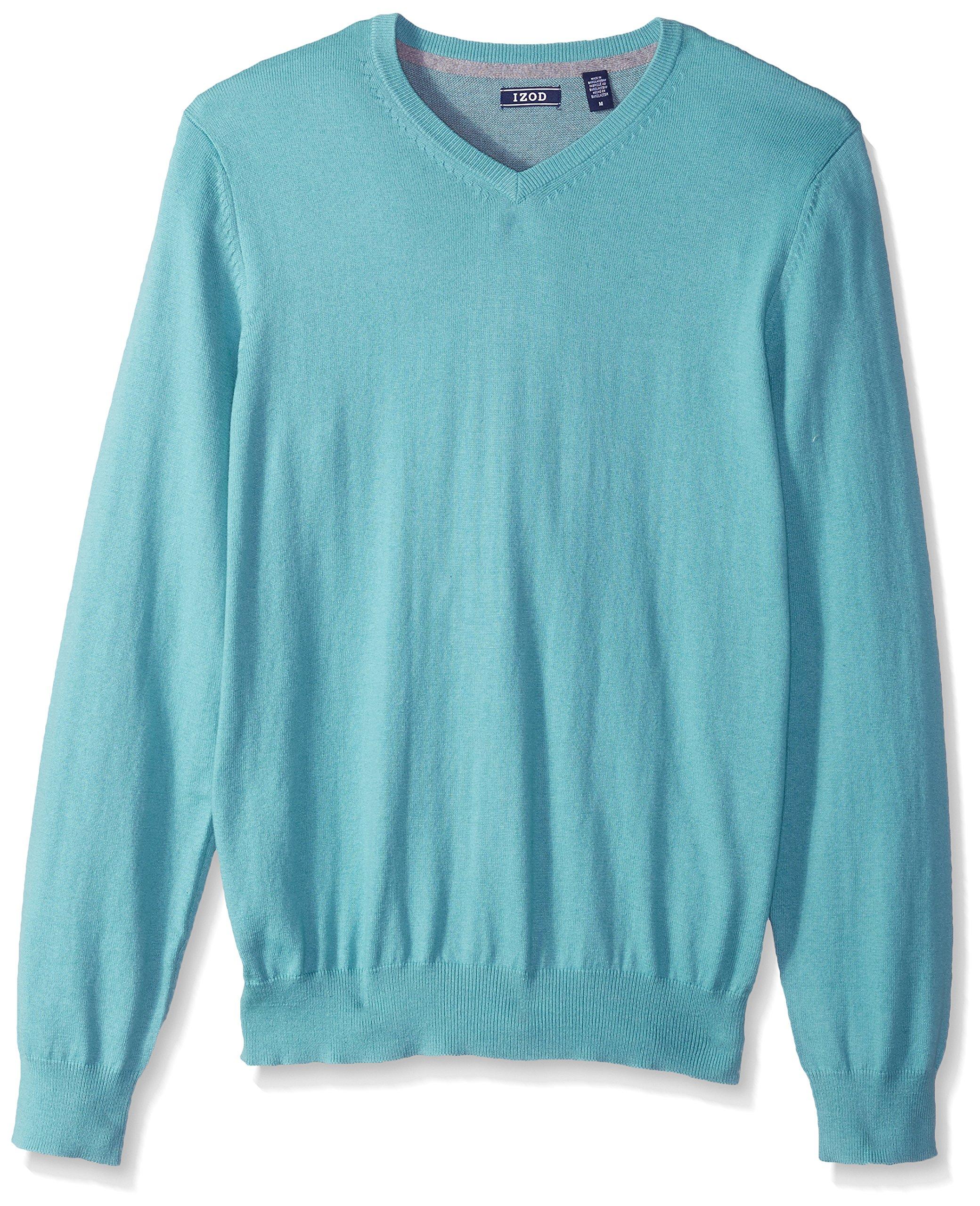 IZOD Men's Fine Gauge Solid V-Neck Sweater, Agate Green, Large