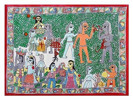 S N JHA Madhubani Craft Handmade Paper Human Evolution